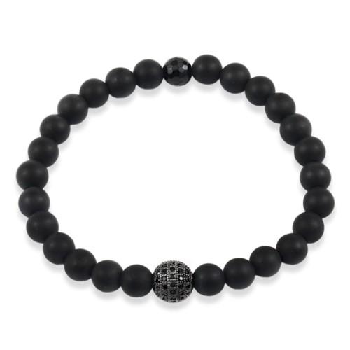 Bracelet mat onyx beads crystal ball